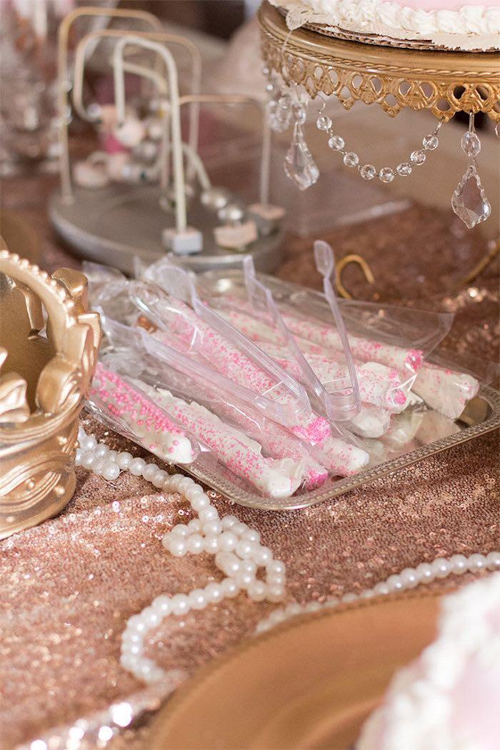 Pretzel Sticks from an Elegant Princess Baby Shower via Kara's Party Ideas | KarasPartyIdeas.com (18)