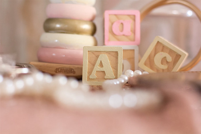 Blocks + Decor from an Elegant Princess Baby Shower via Kara's Party Ideas | KarasPartyIdeas.com (15)