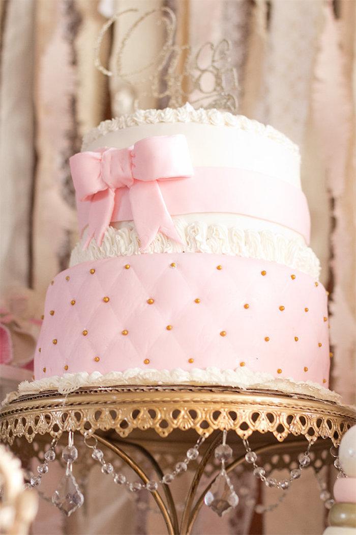 Cake from an Elegant Princess Baby Shower via Kara's Party Ideas | KarasPartyIdeas.com (14)