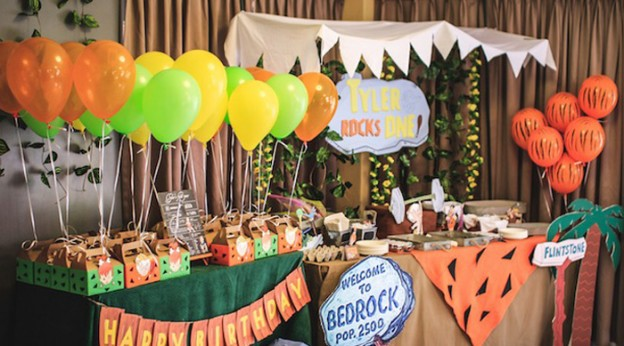 Party Display from a Flintstones Inspired Birthday Party via Kara's Party Ideas | KarasPartyIdeas.com (2)