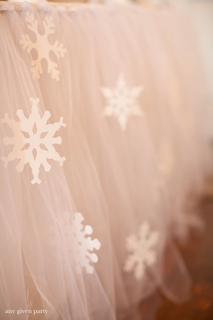 Tulle table skirt adorned with snowflakes from a Frozen Birthday Party via Kara's Party Ideas | KarasPartyIdeas.com (21)