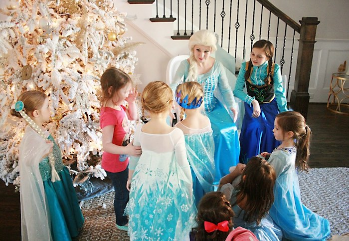 Elsa + Anna visiting with party guests from a Frozen Hot Chocolate Birthday Party via Kara's Party Ideas | KarasPartyIdeas.com | The Place for All Things Party! (3)