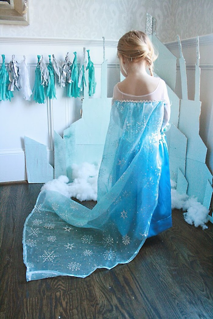 Birthday girl dressed as Elsa from a Frozen Hot Chocolate Birthday Party via Kara's Party Ideas | KarasPartyIdeas.com | The Place for All Things Party! (15)