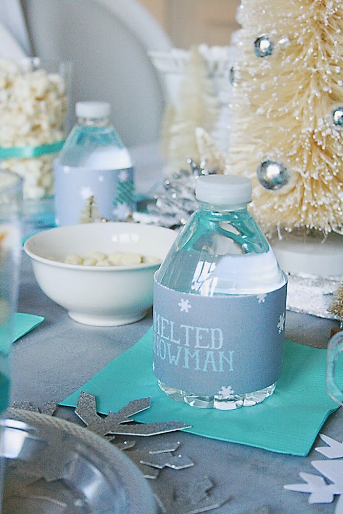 Water Bottle from a Frozen Hot Chocolate Birthday Party via Kara's Party Ideas | KarasPartyIdeas.com | The Place for All Things Party! (13)