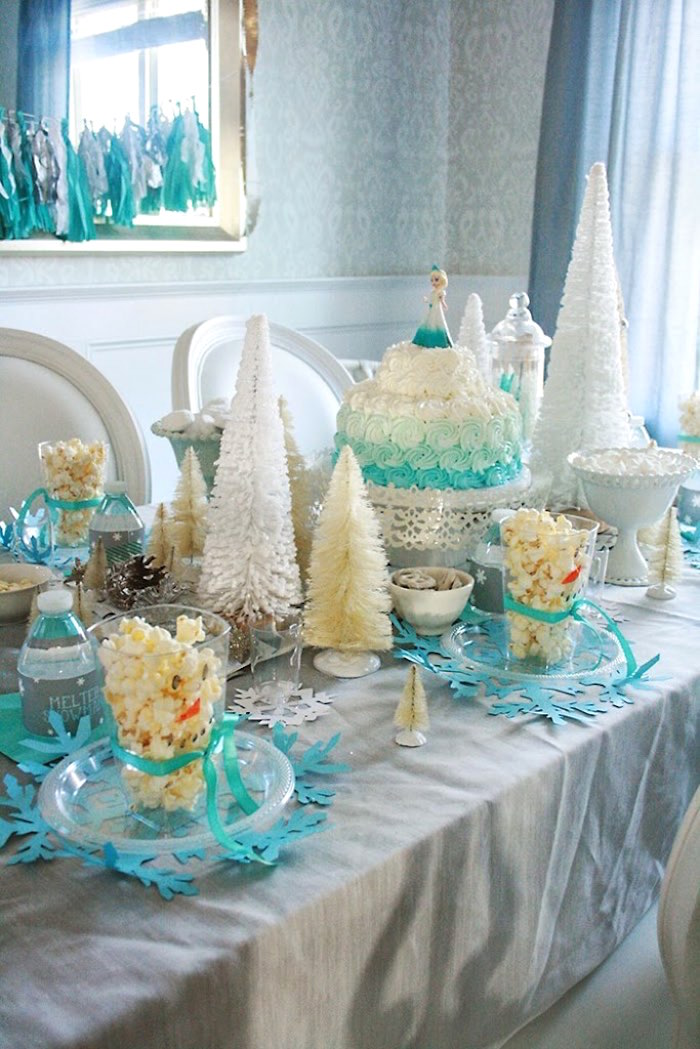 Main Table from a Frozen Hot Chocolate Birthday Party via Kara's Party Ideas | KarasPartyIdeas.com | The Place for All Things Party! (12)