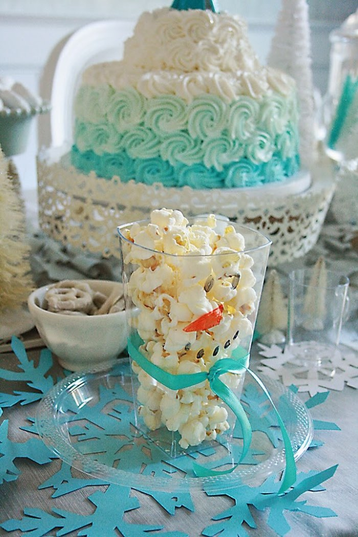 Popcorn Snowman from a Frozen Hot Chocolate Birthday Party via Kara's Party Ideas | KarasPartyIdeas.com | The Place for All Things Party! (11)