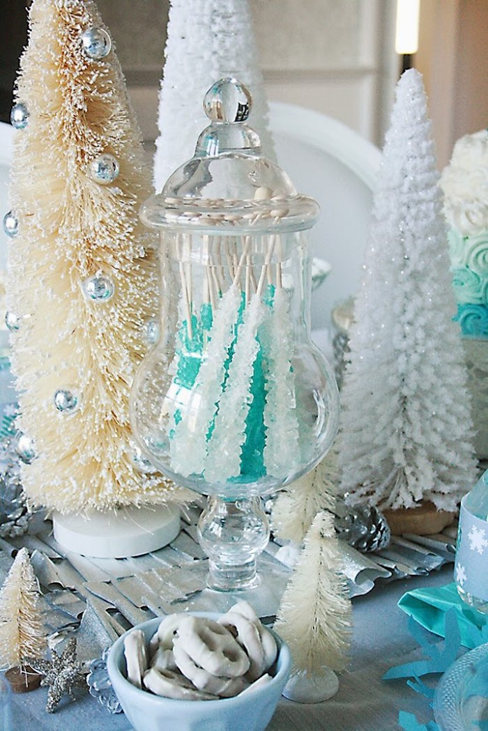 Rock Candy Sticks + Pretzels + Decor from a Frozen Hot Chocolate Birthday Party via Kara's Party Ideas | KarasPartyIdeas.com | The Place for All Things Party! (9)