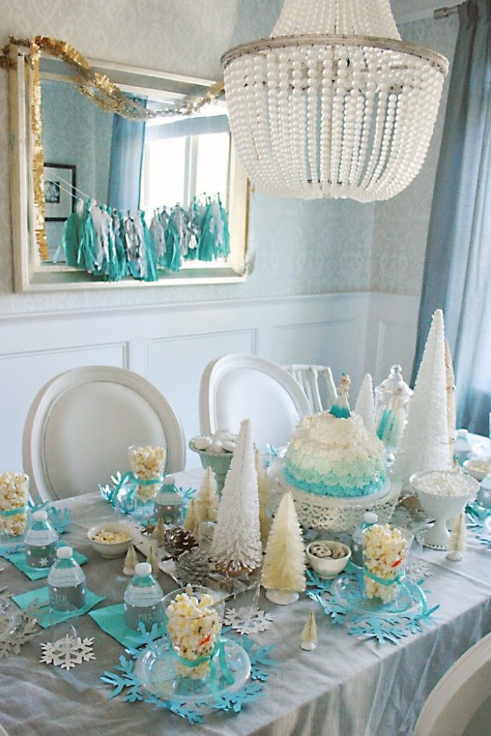 Party Tablescape from a Frozen Hot Chocolate Birthday Party via Kara's Party Ideas | KarasPartyIdeas.com | The Place for All Things Party! (8)