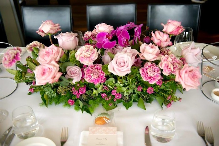 Dining Table Floral Arrangement From A Garden Ballerina Birthday Christening Party Via Karas Ideas