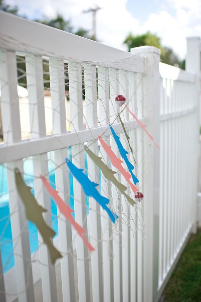 Fish Garland from a Gone Fishing Birthday Party via Kara's Party Ideas | KarasPartyIdeas.com (42)