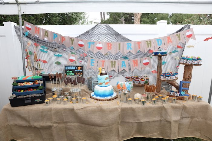 Dessert Table from Gone Fishing Birthday Party via Kara's Party Ideas | KarasPartyIdeas.com (52)