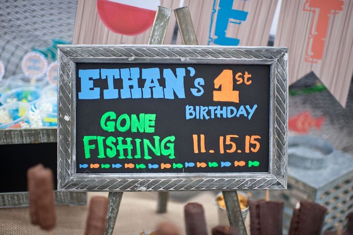 Chalkboard Sign from a Gone Fishing Birthday Party via Kara's Party Ideas | KarasPartyIdeas.com (30)