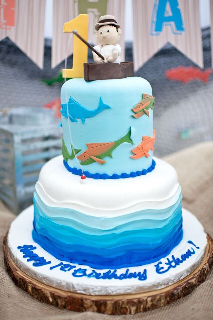 Kara 39 s party ideas colorful gone fishing birthday party for Fishing cake ideas