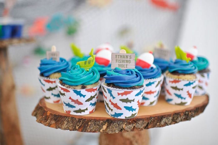 Cupcakes from a Gone Fishing Birthday Party via Kara's Party Ideas | KarasPartyIdeas.com (15)