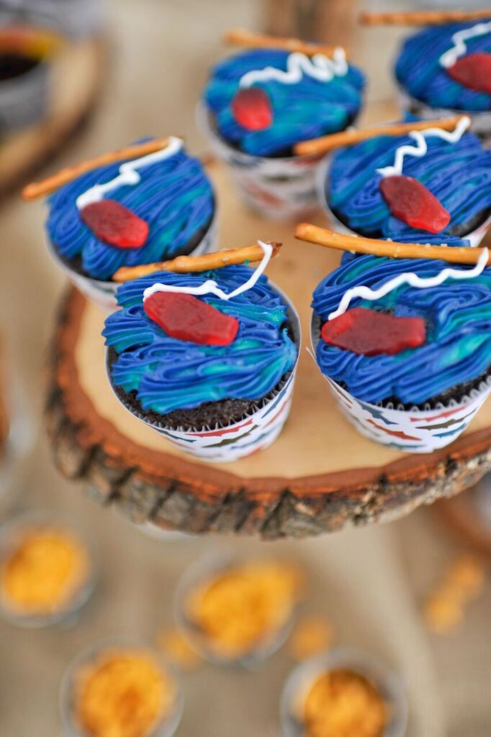 Cupcakes from a Gone Fishing Birthday Party via Kara's Party Ideas | KarasPartyIdeas.com (14)