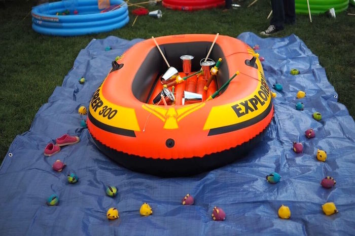 Raft for fishing from a Gone Fishing Birthday Party via Kara's Party Ideas | KarasPartyIdeas.com (9)