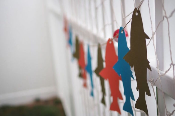 Fish Garland from a Gone Fishing Birthday Party via Kara's Party Ideas | KarasPartyIdeas.com (7)