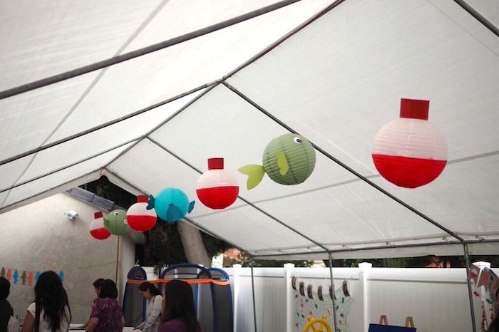 Hanging Paper Lantern Fishing Decorations Gone Fishing Birthday Party via Kara's Party Ideas | KarasPartyIdeas.com (6)