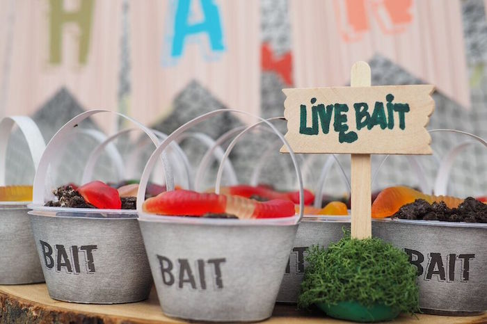 Bait Dessert Pails from a Gone Fishing Birthday Party via Kara's Party Ideas | KarasPartyIdeas.com (4)