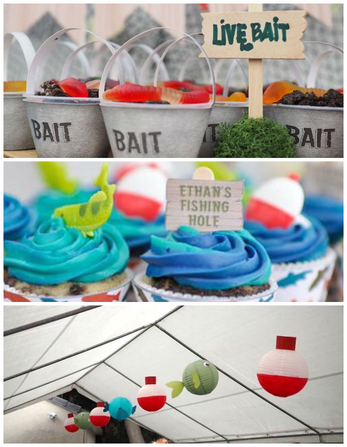 Kara 39 s party ideas colorful gone fishing birthday party for Fishing themed party supplies
