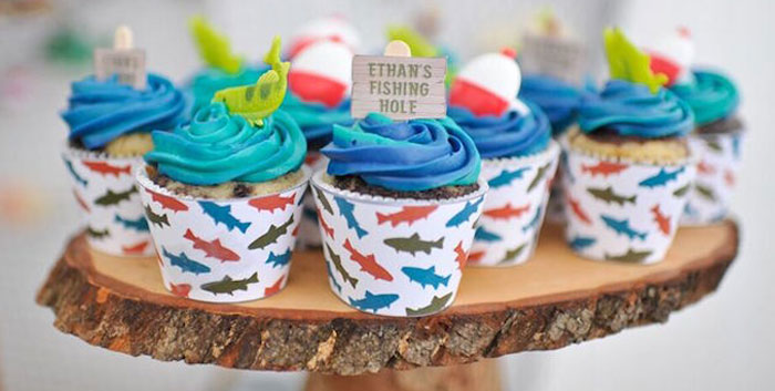 Cupcakes from a Gone Fishing Birthday Party via Kara's Party Ideas | KarasPartyIdeas.com (1)
