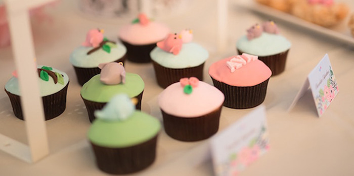 Cupcakes from a Little Bird Birthday Party via Kara's Party Ideas | KarasPartyIdeas.com (2)