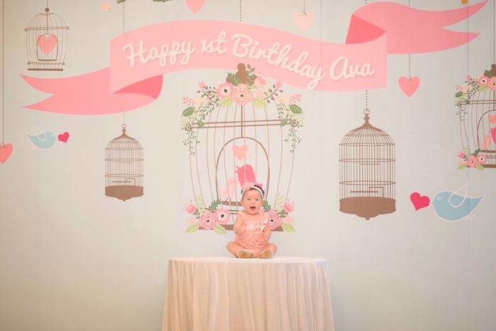 Little Bird Backdrop + Birthday Girl from a Little Bird Birthday Party via Kara's Party Ideas | KarasPartyIdeas.com (15)
