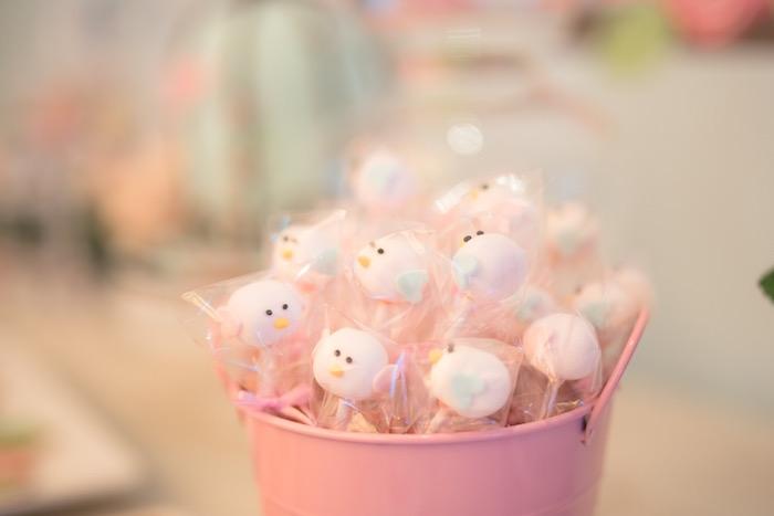 Little Bird Mini Marshmallow Pops from a Little Bird Birthday Party via Kara's Party Ideas | KarasPartyIdeas.com (11)