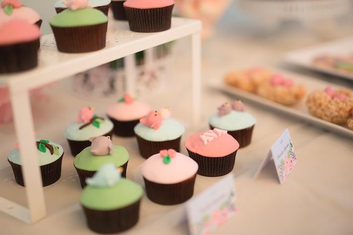 Cupcakes from a Little Bird Birthday Party via Kara's Party Ideas | KarasPartyIdeas.com (10)
