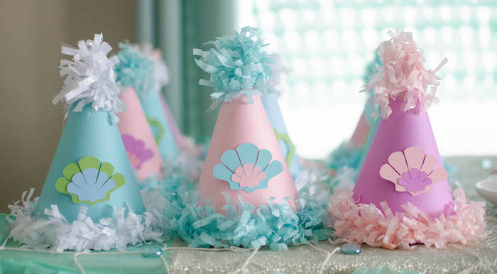Party Hats from a Magical Mermaid Birthday Party via Kara's Party Ideas! KarasPartyIdeas.com (18)