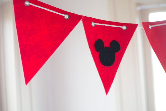 Karas Party Ideas Pennant Banner from a Mickey Mouse DIY Birthday