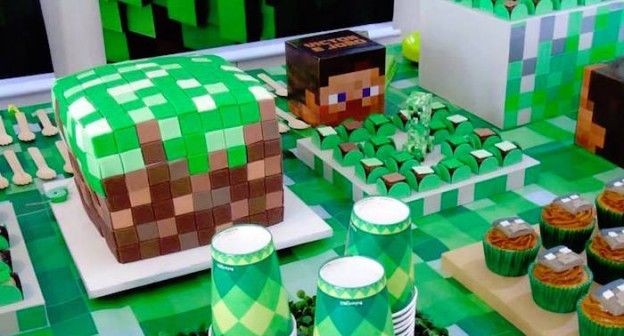 Cake and Sweets from a Minecraft Birthday Party via Kara's Party Ideas | KarasPartyIdeas.com (2)