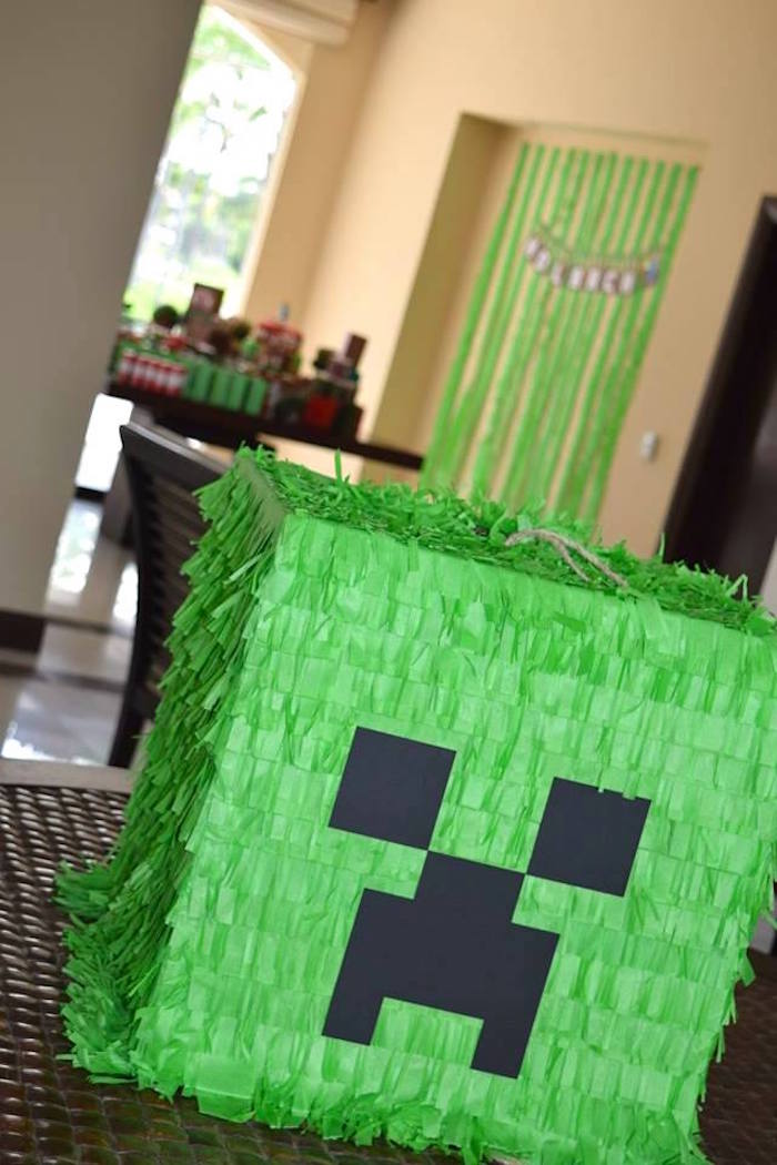 Karas Party Ideas Creeper Pinata From A Minecraft