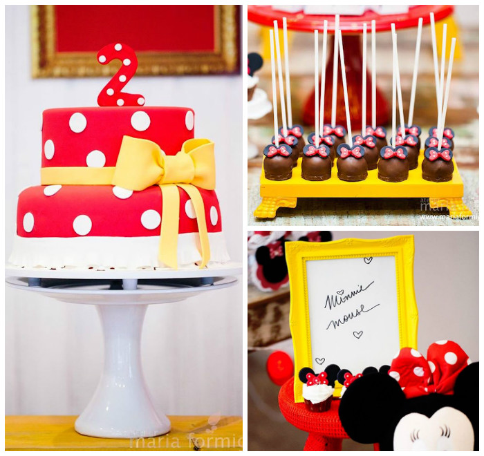 yellow minnie mouse birthday party