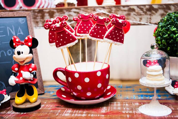 Minnie Mouse Dress Cookies on Sticks + Decor from a Minnie Mouse Birthday Party via Kara's Party Ideas | KarasPartyIdeas.com (19)