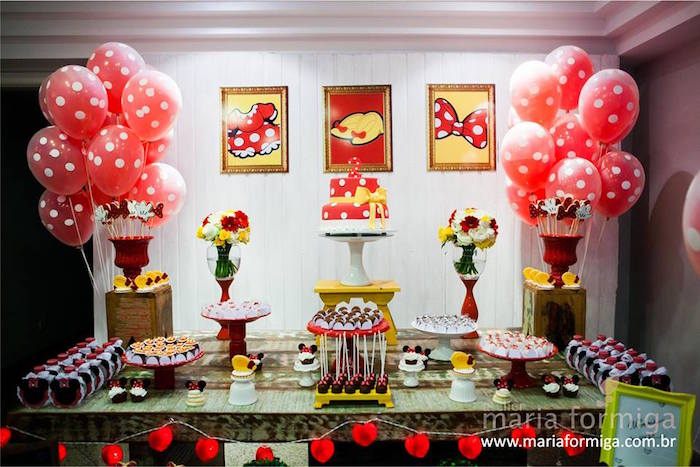 Inspired balloon birthday party ideas party ideas party printables - Kara S Party Ideas Red White And Yellow Minnie Mouse
