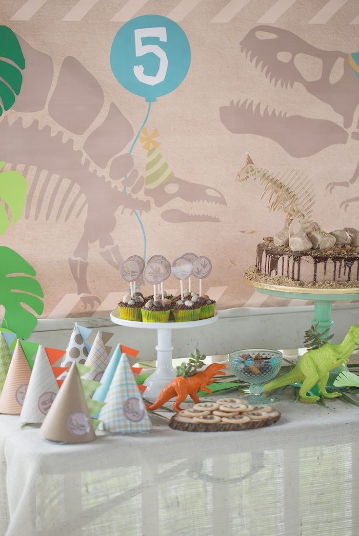 Sweet Table from a Modern Dinosaur Birthday Party via Kara's Party Ideas KarasPartyIdeas.com (18)