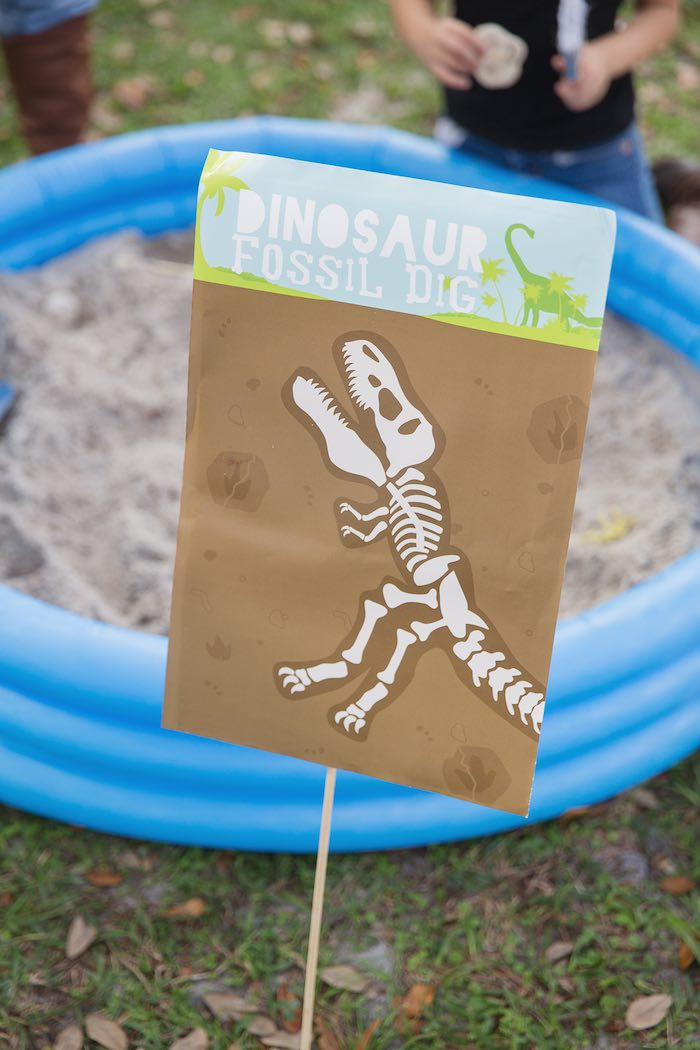 Fossil Dig Site from a Modern Dinosaur Birthday Party via Kara's Party Ideas KarasPartyIdeas.com (16)