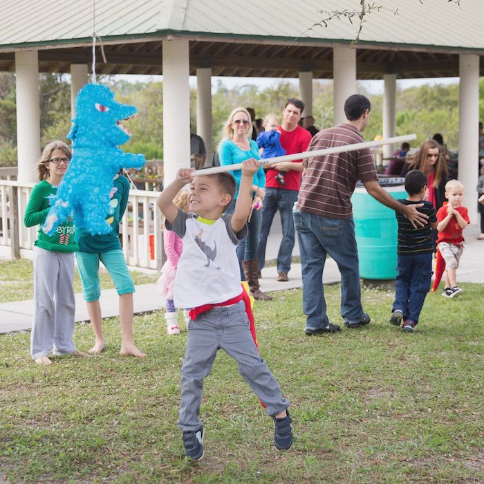 Piñata fun from a Modern Dinosaur Birthday Party via Kara's Party Ideas KarasPartyIdeas.com (10)