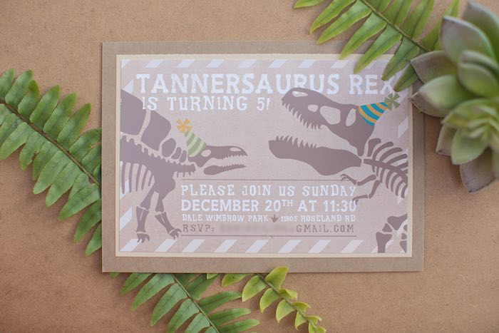 Invitation from a Modern Dinosaur Birthday Party via Kara's Party Ideas KarasPartyIdeas.com (33)