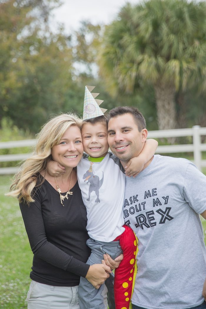 Birthday Boy + Parents from a Modern Dinosaur Birthday Party via Kara's Party Ideas KarasPartyIdeas.com (5)
