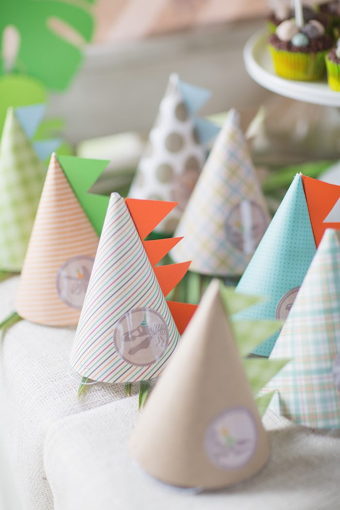 Party Hats from a Modern Dinosaur Birthday Party via Kara's Party Ideas KarasPartyIdeas.com (28)