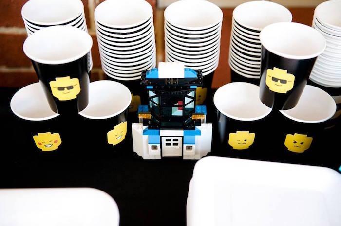 Cups from a Modern Lego Themed Birthday Party via Kara's Party Ideas KarasPartyIdeas.com (14)