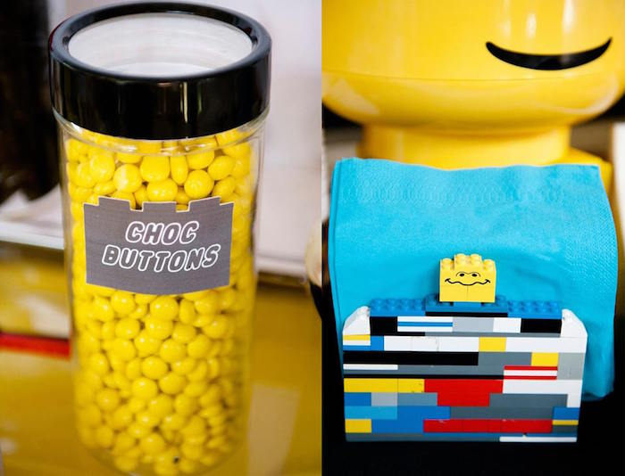 Chocolate Buttons/Candy + Lego Napkin Holder from a Modern Lego Themed Birthday Party via Kara's Party Ideas KarasPartyIdeas.com (12)
