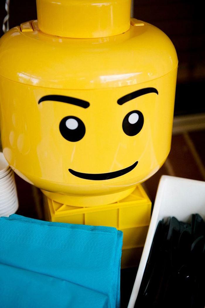Lego Head Container from a Modern Lego Themed Birthday Party via Kara's Party Ideas KarasPartyIdeas.com (11)