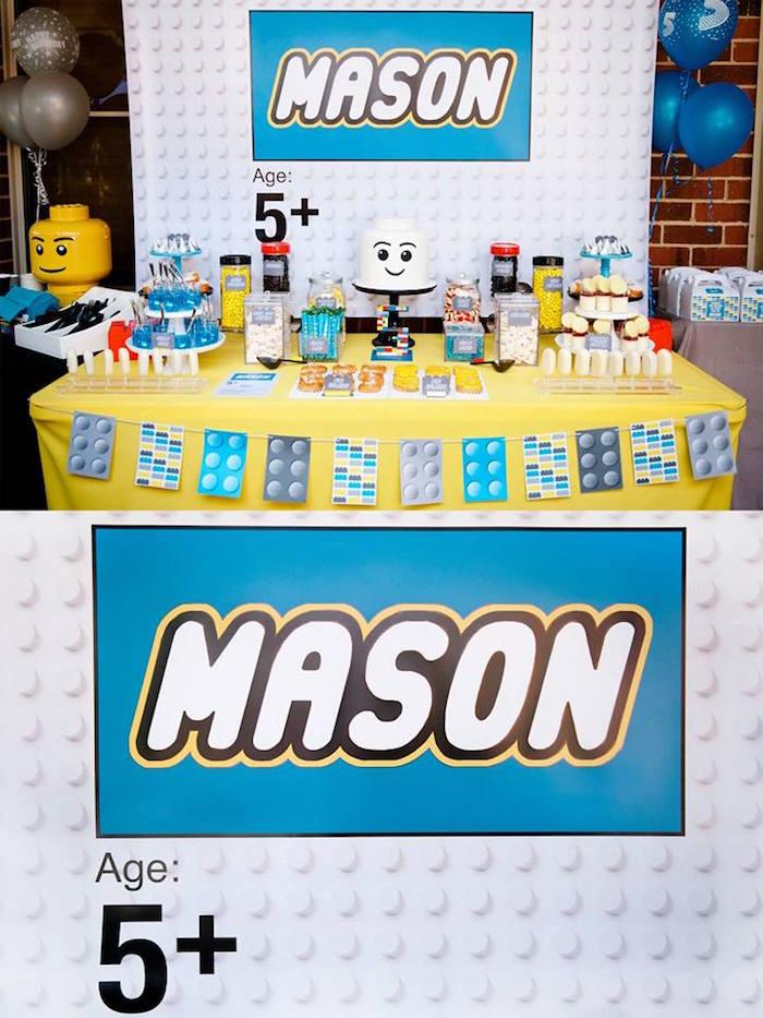 Sweet Table + Backdrop from a Modern Lego Themed Birthday Party via Kara's Party Ideas KarasPartyIdeas.com (6)
