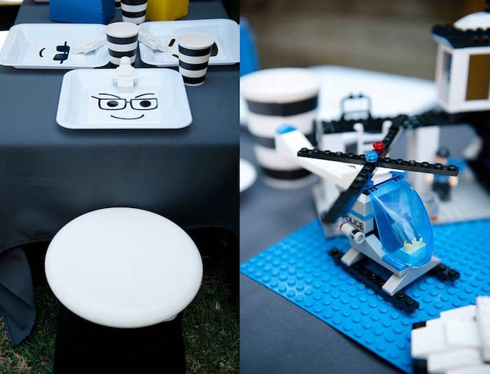 Place Setting + Lego Helicopter Decor Piece from a Modern Lego Themed Birthday Party via Kara's Party Ideas KarasPartyIdeas.com (4)