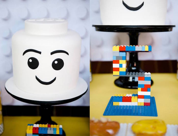 Cake + Lego 5 from a Modern Lego Themed Birthday Party via Kara's Party Ideas KarasPartyIdeas.com (3)
