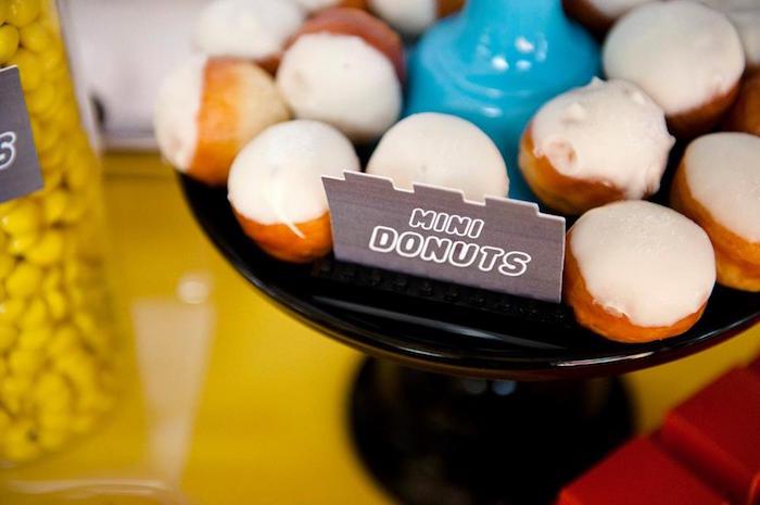 Mini Donuts from a Modern Lego Themed Birthday Party via Kara's Party Ideas KarasPartyIdeas.com (25)