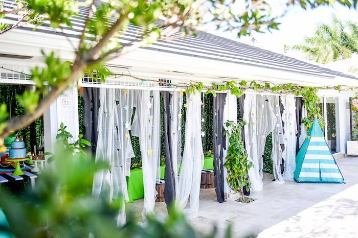 Ribbon Curtain from a Modern Neverland Birthday Party via Kara's Party Ideas KarasPartyIdeas.com (60)